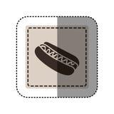 place monochrome d'autocollant avec le hot-dog avec de la sauce Photos stock