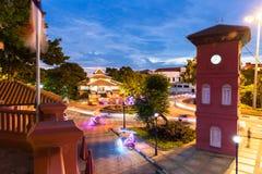 Place néerlandaise après coucher du soleil, Malacca, Malaisie Photos libres de droits
