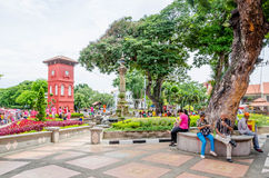 Place néerlandaise au centre historique du Malacca, Malaisie Photo libre de droits