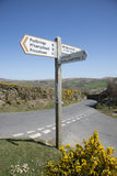 Place names on signpost in countryside Stock Image