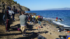 Place the newly arrived boat. Refugees arrived from Turkey on the boat to the shore of the Greek island of Lesbos royalty free stock photography