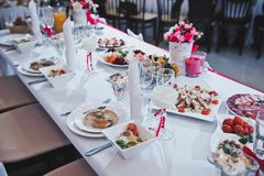 Place of the newly-married couple at the table on wedding 2539. Table for the newly-married couple Royalty Free Stock Photo