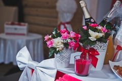 Place of the newly-married couple on wedding 2536. Table for the newly-married couple Stock Photo