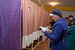 Place for people of voting voters in the national political elections in Ukraine .polling station Royalty Free Stock Photos
