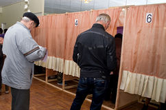 Place for people of voting voters in the national political elections in Ukraine .polling station Stock Images