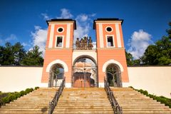 Place of pilgrimage in Jaromerice u Jevicka. Renovated pilgrimage church in Jaromerice u Jevicka Royalty Free Stock Image
