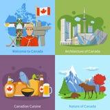 Place plate d'icônes du voyage 4 de Canada illustration de vecteur