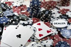 The place of a poker player. Cards and chips Royalty Free Stock Photography