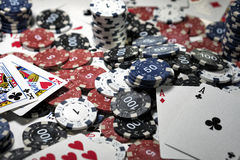 The place of a poker player. Cards and chips Stock Image