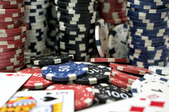 The place of a poker player. Cards and chips Stock Images