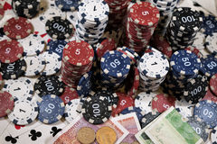 The place of a poker player. Cards, chips and money Stock Photography