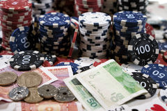 The place of a poker player. Cards, chips and money Stock Image
