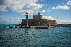 Place in the port of Rhodes, where stood the Colossus of Rhodes Royalty Free Stock Photo