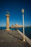 Place in the port of Rhodes, where stood the Colossus of Rhodes Stock Images