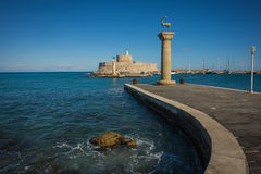 Place in the port of Rhodes, where stood the Colossus of Rhodes Stock Photo