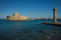 Place in the port of Rhodes, where stood the Colossus of Rhodes Stock Photography