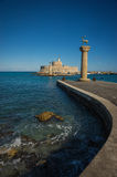 Place in the port of Rhodes, where stood the Colossus of Rhodes Royalty Free Stock Images