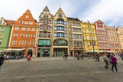 Place principale du marché, maisons colorées, Silésie inférieure, Wroclaw, Pologne Photo libre de droits