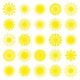 Place réglée de vingt-cinq icônes graphiques jaunes de Sun illustration stock