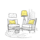 Place for reading with chair sketch Royalty Free Stock Photography