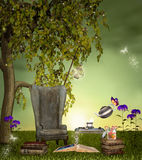 A place for reading. Resting place with armchair and table Stock Photo
