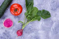 Place for recipe and vegetables. Cucumber, tomato and radish. Organic vegetables Stock Image