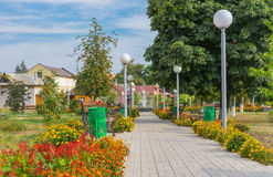 Place for recreation in central square of small town Royalty Free Stock Photo