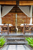 Place for relaxation in authentic asian wellness center Tropical outdoor background Copy space. Stock Photo