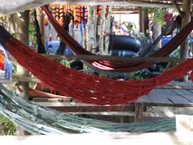Place for relaxation with hanging hammocks. Sunny day. Cambodia, Asia Stock Photo