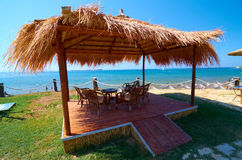 Place for relaxing and refreshing by the beach. Xi beach; Kefalonia island, Greece Stock Images