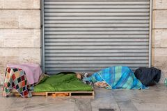 Place of residence of homeless people. In city royalty free stock photography