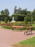 Place for rest the park trees bench fountain Royalty Free Stock Images