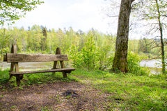 Place for rest. Wooden bench in the national park. Nice place at river Stock Photos