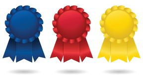 Place Ribbons. Three shiny, satin ribbons, representing first, second and third place;  file contains unexpanded blends Royalty Free Stock Photo