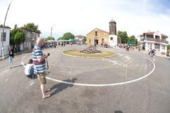 Place ronde pour les jeux de Nestinar dans le village de Bulgari, Bulgarie Photographie stock libre de droits