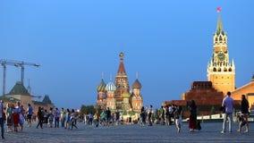 Place rouge à Moscou au crépuscule banque de vidéos