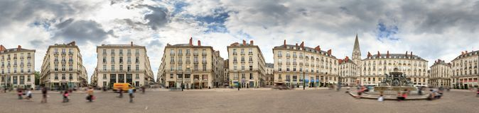 Place Royale Nantes 360 panorama. Spherical 360 degree panorama of town square Place Royale in the shopping center of Nantes, France, on a summer day with the Royalty Free Stock Photos