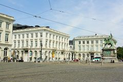 Place Royale with the Royal Museums of Fine Arts of Belgium Royalty Free Stock Photography