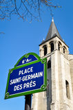 Place Saint-Germain des Prés in Parijs Royalty-vrije Stock Afbeeldingen