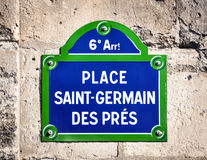 Place Saint-Germain des Pres street sign Stock Image