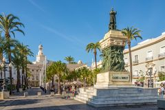 At the place San Juan de Dios in Cadiz - Spain. CADIZ,SPAIN - SEPTEMBER 30,2017 -At the place San Juan de Dios in Cadiz. Cadiz is the oldest continuously Stock Images