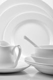 Place setting. Of dinner set on white Royalty Free Stock Photo