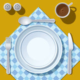 Place setting. With plate, fork, spoon and knife Stock Image