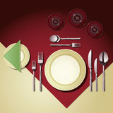 Place Setting. Vector set of items of cutlery and glassware laid at a dining table. All elements are layered and can be reused as separate objects for your