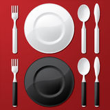 Place setting. Two color versions Royalty Free Stock Photos