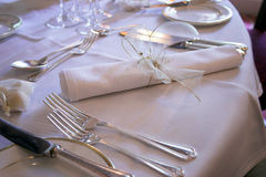 Place setting. At a wedding breakfast royalty free stock photography