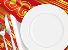Place setting. White place setting,  background Stock Photo