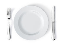 Place setting. With plate, knife and fork Stock Photo