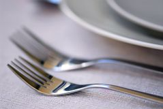 Place setting. Closeup of dinner place setting shallow dof stock photography