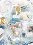 Place setting. Luxury place setting in white for Christmas or other event stock photos
